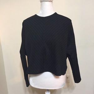 ZARA Top Size S Black Gray Pinstripe Shirt Crop